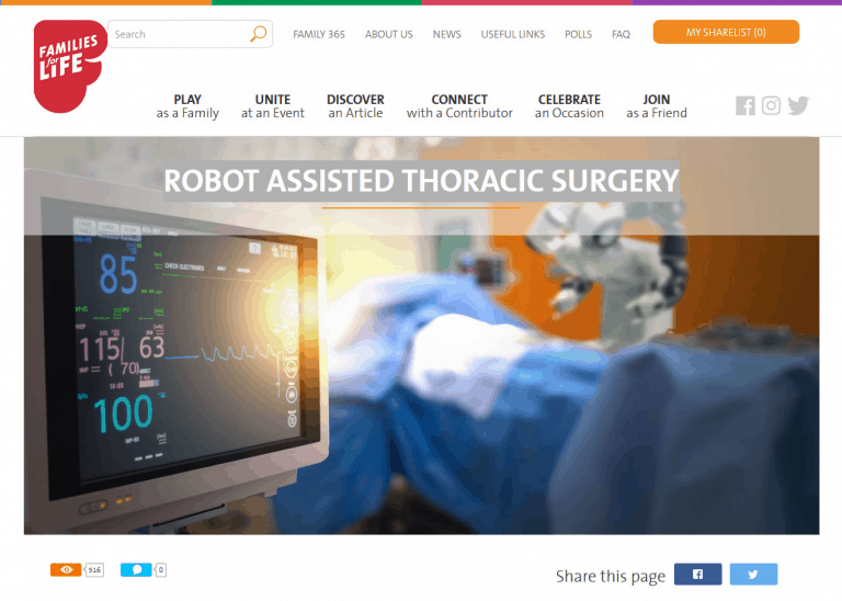 FAMILIES FOR LIFE: ROBOT ASSISTED THORACIC SURGERY