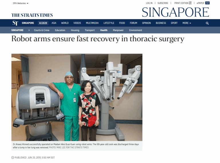 THE STRAITS TIMES: ROBOT ARMS ENSURE FAST RECOVERY IN THORACIC SURGERY