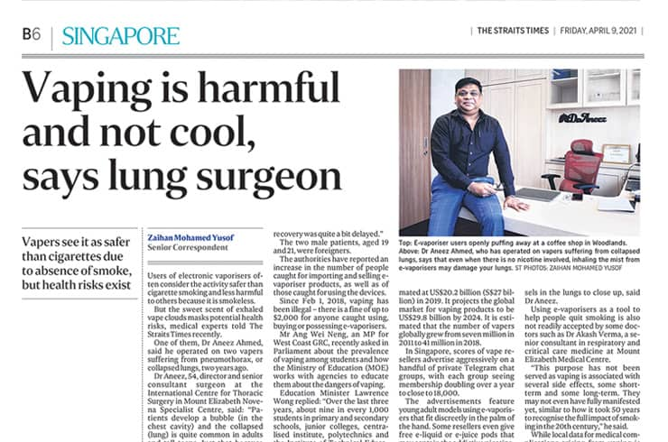 THE STRAITS TIMES: VAPING IS HARMFUL AND NOT COOL, SAYS LUNG SURGEON
